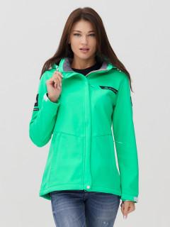 Купить оптом женскую осеннюю весеннюю ветровку softshell зеленого цвета в интернет магазине MTFORCE 2034Z