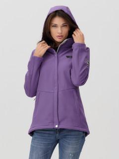 Купить оптом женскую осеннюю весеннюю ветровку softshell фиолетового цвета в интернет магазине MTFORCE 2034F
