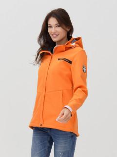 Купить оптом женскую осеннюю весеннюю ветровку softshell оранжевого цвета в интернет магазине MTFORCE 2034O