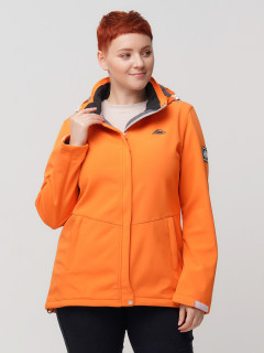 Купить оптом женскую осеннюю весеннюю ветровку из ткани softshell большого размера оранжевого цвета в интернет магазине MTFORCE 2034-1O