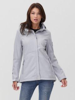 Купить оптом женскую осеннюю весеннюю ветровку softshell светло-серого цвета в интернет магазине MTFORCE 2035SS