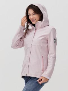 Купить оптом женскую осеннюю весеннюю ветровку softshell розового цвета в интернет магазине MTFORCE 2035R