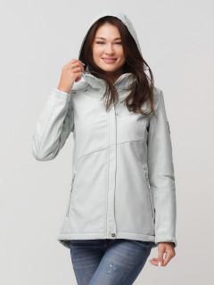 Купить оптом женскую осеннюю весеннюю ветровку softshell бирюзового цвета в интернет магазине MTFORCE 2035Br