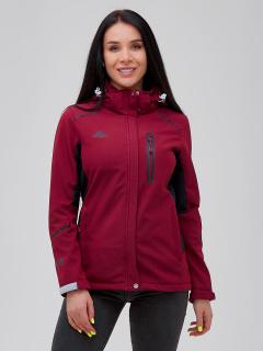 Купить оптом женскую осеннюю весеннюю ветровку softshell бордового цвета в интернет магазине MTFORCE 2036Bo