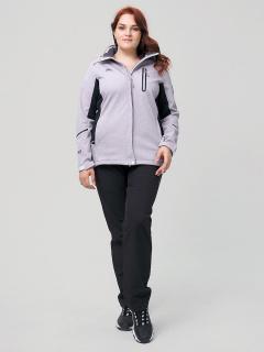 Женский осенний весенний костюм спортивный из ткани softshell большого размера серого цвета купить оптом в интернет магазине MTFORCE 02036-1Sr