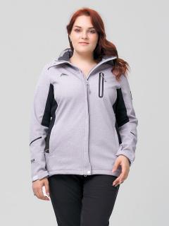 Купить оптом женскую осеннюю весеннюю ветровку из ткани softshell большого размера серого цвета в интернет магазине MTFORCE 2036-1Sr