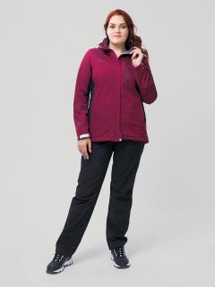 Женский осенний весенний костюм спортивный из ткани softshell большого размера бордового цвета купить оптом в интернет магазине MTFORCE 02036-1Bo