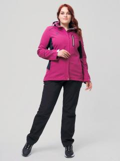 Женский осенний весенний костюм спортивный из ткани softshell большого размера малинового цвета купить оптом в интернет магазине MTFORCE 02036-1М
