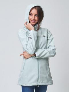 Купить оптом женскую осеннюю весеннюю ветровку softshell бирюзового цвета в интернет магазине MTFORCE 2037Br