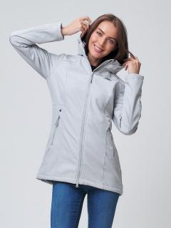 Купить оптом женскую осеннюю весеннюю ветровку softshell светло-серого цвета в интернет магазине MTFORCE 2037SS