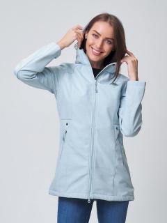 Купить оптом женскую осеннюю весеннюю ветровку softshell голубого цвета в интернет магазине MTFORCE 2037Gl