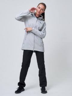 Женский осенний весенний костюм спортивный softshell светло-серого цвета купить оптом в интернет магазине MTFORCE 02037SS