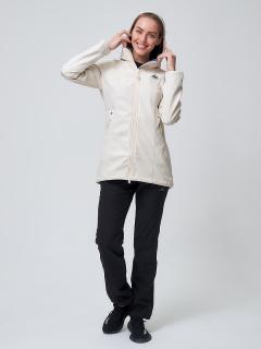 Женский осенний весенний костюм спортивный softshell бежевого цвета купить оптом в интернет магазине MTFORCE 02037B