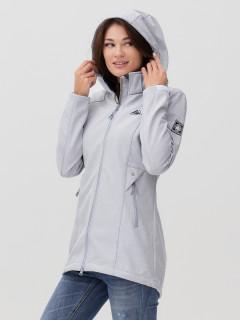 Купить оптом женскую осеннюю весеннюю ветровку softshell серого цвета в интернет магазине MTFORCE 2037Sr