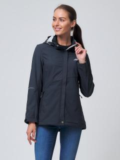 Купить оптом женскую осеннюю весеннюю ветровку softshell темно-серого цвета в интернет магазине MTFORCE 2038TC