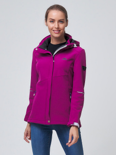 Купить оптом женскую осеннюю весеннюю ветровку softshell фиолетового цвета в интернет магазине MTFORCE 2038F