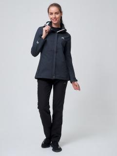 Женский осенний весенний костюм спортивный softshell темно-серого цвета купить оптом в интернет магазине MTFORCE 02038TC