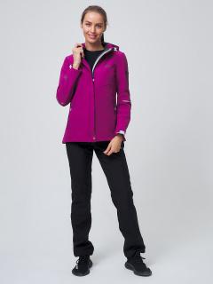 Женский осенний весенний костюм спортивный softshell фиолетового цвета купить оптом в интернет магазине MTFORCE 02038F