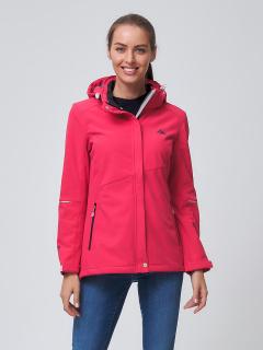 Купить оптом женскую осеннюю весеннюю ветровку softshell розового цвета в интернет магазине MTFORCE 2038R