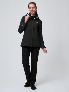 Женский осенний весенний костюм спортивный softshell черного цвета купить оптом в интернет магазине MTFORCE 02038Ch
