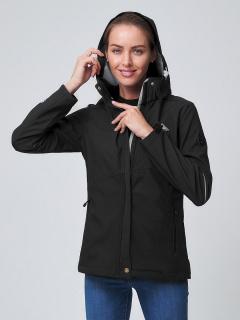 Купить оптом женскую осеннюю весеннюю ветровку softshell черного цвета в интернет магазине MTFORCE 2038Ch