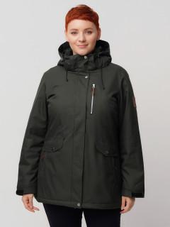 Купить оптом женскую зимнюю горнолыжную куртку большого размера болотного цвета в интернет магазине MTFORCE 2047Bt