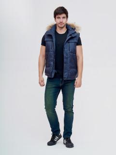 Купить оптом мужскую зимний куртку и безрукавку темно-синего цвета в интернет магазине MTFORCE 2064TS