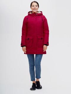 Купить оптом женскую зимнюю парку бордового цвета в интернет магазине MTFORCE 2074Bo