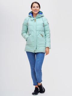 Купить оптом женскую зимнюю куртку молодежную бирюзового цвета в интернет магазине MTFORCE 2080Br