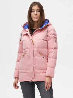 Купить оптом женскую зимнюю куртку молодежную розового цвета в интернет магазине MTFORCE 2080R