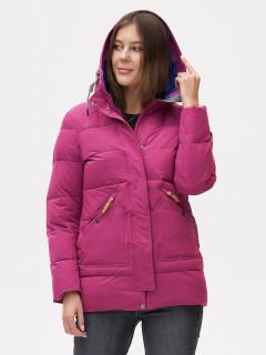 Купить оптом женскую зимнюю куртку молодежную малинового цвета в интернет магазине MTFORCE 2080M