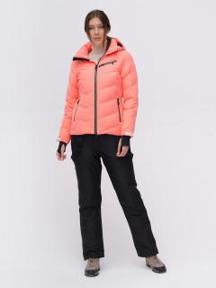 Костюм горнолыжный женский персикового цвета купить оптом в интернет магазине MTFORCE 02081P