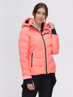 Купить оптом женскую зимнюю горнолыжную куртку персикового цвета в интернет магазине MTFORCE 2081P