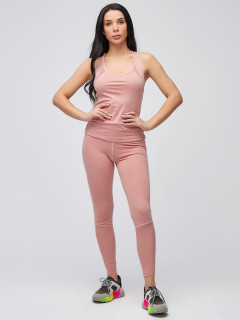 Спортивный костюм для фитнеса женский осенний весенний розового цвета купить оптом в интернет магазине MTFORCE 21106R