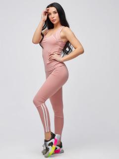 Спортивный костюм для фитнеса женский  розового цвета купить оптом в интернет магазине MTFORCE 21106R