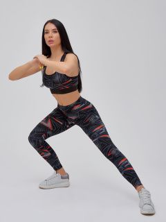 Спортивный костюм для фитнеса женский темно-серого цвета купить оптом в интернет магазине MTFORCE 21102TC