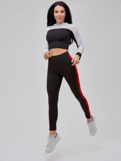 Спортивный костюм для фитнеса женский черного цвета  купить оптом в интернет магазине MTFORCE 21111Ch