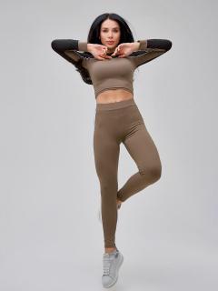 Спортивный костюм для фитнеса женский цвета хаки  купить оптом в интернет магазине MTFORCE 21111Kh