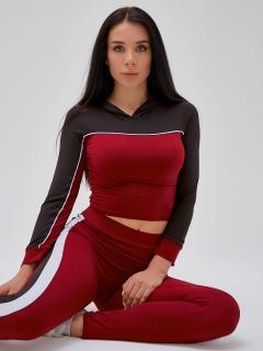 Спортивный костюм для фитнеса женский бордового цвета купить оптом в интернет магазине MTFORCE 21111Bo