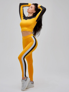 Спортивный костюм для фитнеса женский желтого цвета купить оптом в интернет магазине MTFORCE 21111J