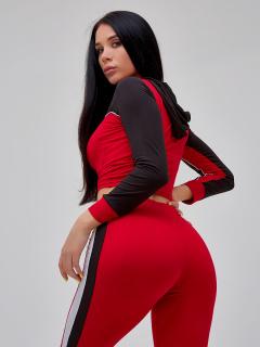 Спортивный костюм для фитнеса женский красного цвета купить оптом в интернет магазине MTFORCE 21111Kr