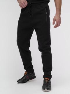 Спортивные мужские брюки с начесом черного цвета купить оптом в интернет магазине MTFORCE 1183-3Ch