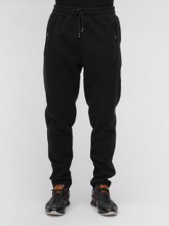 Спортивные мужские брюки с начесом черного цвета купить оптом в интернет магазине MTFORCE 1183Ch