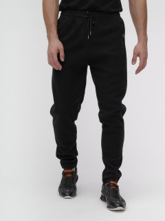 Спортивные мужские брюки с начесом черного цвета купить оптом в интернет магазине MTFORCE 1183-2Ch