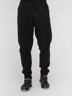 Спортивные мужские брюки с начесом черного цвета купить оптом в интернет магазине MTFORCE 1183-4Ch
