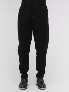 Спортивные мужские брюки с начесом черного цвета купить оптом в интернет магазине MTFORCE 1183-1Ch