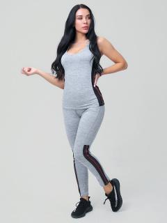 Женский всесезонный костюм для фитнеса серого цвета купить оптом в интернет магазине MTFORCE 21130Sr