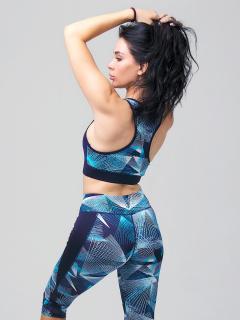 Женский всесезонный костюм для фитнеса голубого цвета купить оптом в интернет магазине MTFORCE 212904Gl