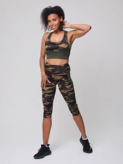 Женский всесезонный костюм для фитнеса цвета хаки купить оптом в интернет магазине MTFORCE 212904Kh
