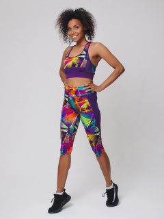 Женский всесезонный костюм для фитнеса фиолетового цвета купить оптом в интернет магазине MTFORCE 212904F